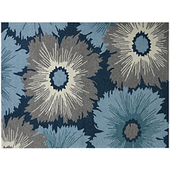 Navy Blossoming Piazza Outdoor Rug, 5x8