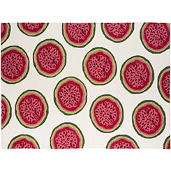 Pink Watermelon Piazza Outdoor Rug, 5x8