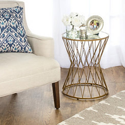 Gold Hourglass Accent Table
