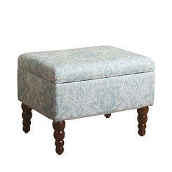 Soft Blue Rectangular Storage Ottoman
