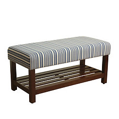 Blue Striped Walnut Bench