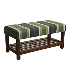 Green Striped Walnut Bench