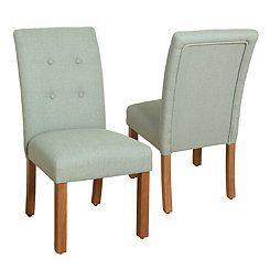 Blue Button Tufted Parsons Chairs, Set of 2