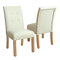 Cream Button Tufted Parsons Chairs, Set of 2