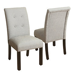 Gray Button Tufted Parsons Chairs, Set of 2