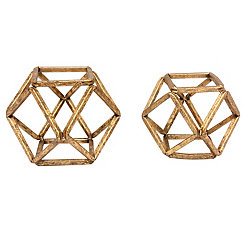 Gold Open Hexagon Figurines, Set of 2