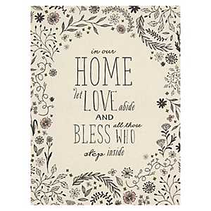 Home and Blessings Linen Plaque