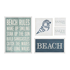 Beach Wall Plaques, Set of 5