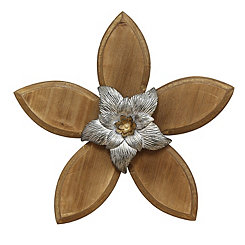 Silver Rustic Wooden Flower Wall Plaque
