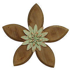 Green Rustic Wooden Flower Wall Plaque