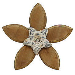 Cream Rustic Wooden Flower Wall Plaque