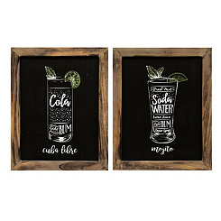 Cocktails Wall Plaques, Set of 2