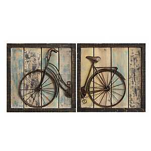 Rustic Bicycle Wall Plaques, Set of 2