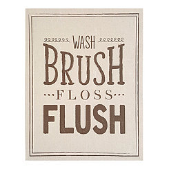 Wash Brush Floss Flush Linen Plaque