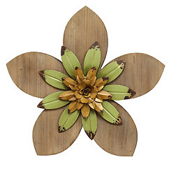 Green and Yellow Rustic Wooden Flower Wall Plaque