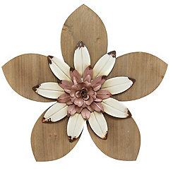 Pink and White Rustic Wooden Flower Wall Plaque