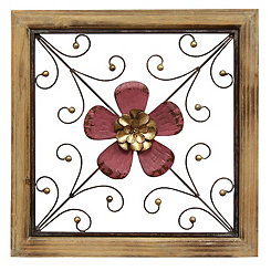 Pink Floral Square Wall Plaque