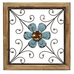 Blue Floral Square Wall Plaque