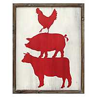 Cow, Pig, and Rooster Wall Plaque