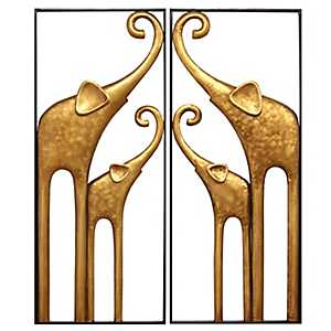 Gold Elephant Wall Plaques, Set of 2