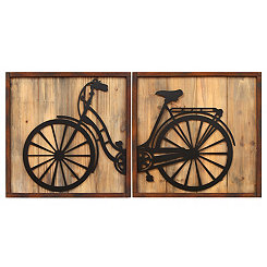 Retro Bicycle Wall Plaques, Set of 2