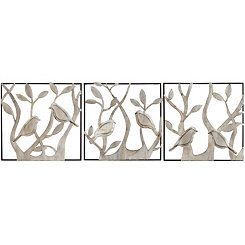 Silver Bird Wall Plaques, Set of 3