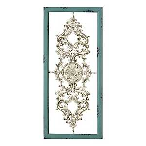 Turquoise and White Scroll Wall Plaque