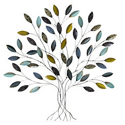 Blue and Yellow Tree Wall Plaque