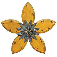 Yellow Antique Flower Plaque