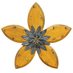 Yellow Antique Flower Plaque