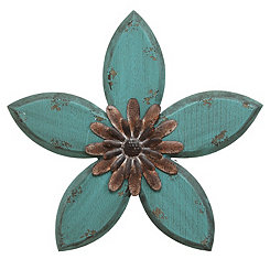 Blue Antique Flower Plaque