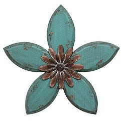 Blue Antique Flower Plaque