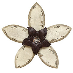 White Antique Flower Plaque