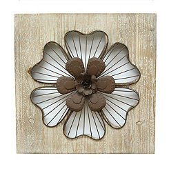 Square Rustic Flower Wall Plaque