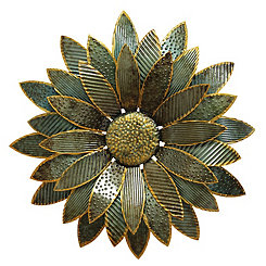 Green and Gold Flower Wall Plaque