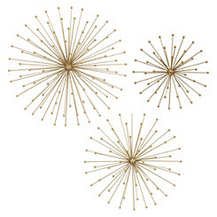 Gold Burst Wall Plaques, Set of 3