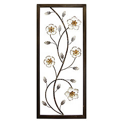 White Blooming Floral Panel Wall Plaque