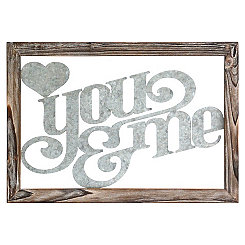 You and Me Framed Galvanized Metal Plaque