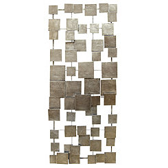 Brushed Silver Tiles Metal Wall Plaque