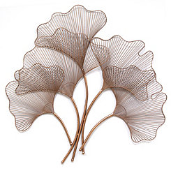 Rose Gold Ginkgo Leaf Wall Plaque