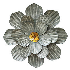 Galvanized Metal Flower Wall Plaque