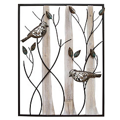 Perched Birds Framed Metal Wall Plaque