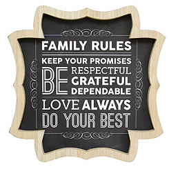 Scalloped Family Rules Wooden Wall Plaque