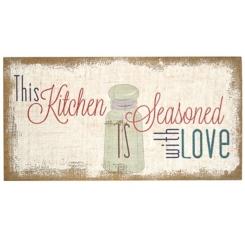 Seasoned With Love Burlap Wall Plaque