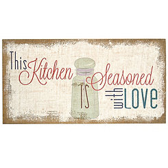 Seasoned With Love Burlap Wall Plaque