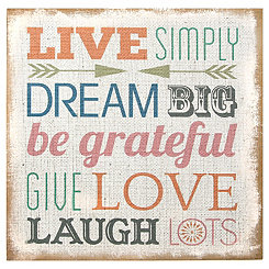 Live Simply Burlap Wall Plaque