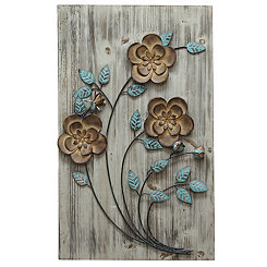 Bronze and Teal Rustic Flowers I Wall Plaque