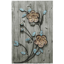 Bronze and Teal Rustic Flowers II Wall Plaque