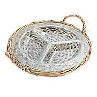 Rattan And Glass 3-Section Serving Tray
