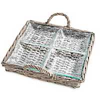 Rattan and Glass 4-Section Serving Tray